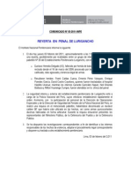 Comunicado INPE Reyerta Lurigancho 03-02-2011