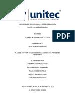 Informe de Plan de Gestión de las Comunicaciones TUTO504