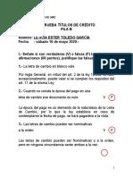 1ra. Prueba Titulos de Credito 2020 FILA B LETICIA TOLEDO