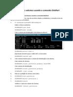 Criando discos e volumes usando o comando DiskPart.docx