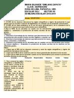 RUTA DE MEJORA ESCOLAR Y ESTRATEGIA GLOBAL 18-19
