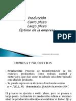 produccion - corto plazo - largo plazo - optimo de la empresa