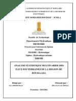 ANALYSE STATISTIQUE MULTIVARIEE DES EAUX SOUTERRAINES BOUSAADA