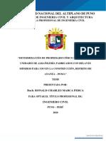 Determinación de propiedades físico mecánicas de unidades de albañileria fabricados con relaves mineros para uso de construcción distrito Ananeo - Puno