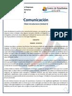 Comunicación [Clase Introductoria] (Profesor D. Moscovich)