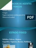 CLASIFICACION DE AGENTES TOXICOS