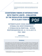 Countdown Timers at Intersections With Traffic Lights - Evaluation of the Regulation Journal of Laws of 31.5.2017 Item 1062
