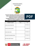 PLAN PARA LA VIGILANCIA, PREVENCION Y CONTROL COVID 19 EN EL TRABAJO 2020 LIMPIEZA Y MANTENIMIENTO LOSA DEPORTIVA LAS BRISAS