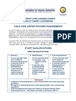 Child Care Center Provider Requirements Fact Sheet