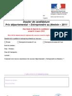 Dossier de candidature Prix Entreprendre au feminin