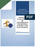 PROCEDIMIENTO DE CONTROL POR MATERIAL EXTRAÑO Y POR OLOR QUIMICO[15149]