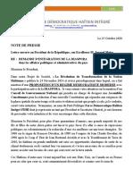 Note de Presse 25 Octobre 2020 - Lettre ouverte au President de la République, son Excellence M. Jovenel Moise. RE