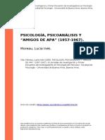 Moreau, Lucia Ines (2005). PSICOLOGIA, PSICOANALISIS Y oAMIGOS DE APAo (1957-1967)