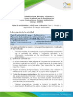 Guía de Actividades y Rúbrica de Evaluación Unidad 3 - Fase 4 - Manejo y Seguimiento de Riesgos Ambientales