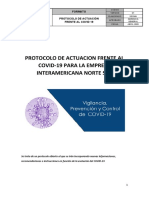 PROTOCOLO DE ACTUACION FRENTE AL COVID