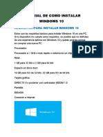 TUTORIAL DE COMO INSTALAR WINDOWS 10