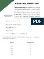 Conversión de binario a hexadecimal - MiProfe.com