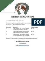 SATRERÍA HERMANOS EG cotización