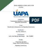 Tarea 3 Filosofía de la Educación en la República Dominicana.docx