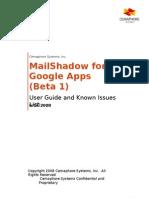 UserGuideKnownIssues MailShadowforGoogleAppsBeta1