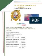 PRÉSTAMOS DE  REACTIVA PERU IMPACTO CONTABLE Y TRIBUTARIO -407 1.0
