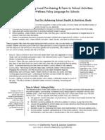 Model School Wellness Policy Language for making farm to school