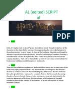 Harry Potter chamber of secrets script