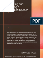 Organizing and Delivering a Memorized Speech