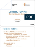 Le mandat et les dossiers du Réseau REPTIC - présentation faite aux directions des études du réseau collégial (2011-02)