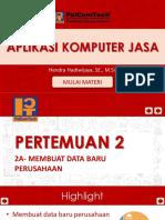 2a- Membuat data baru perusahaan