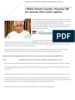 Faridabad student Nikita Tomar's murder_ Haryana CM Manohar Lal Khattar assures strict action against accused - Times of India