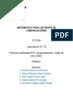 MAT-RC LAB 13 Protocolo multimedia RTP^J encapsulamiento^J Códec de voz y video^