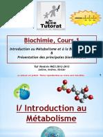 Diapo Tut_Rentrée - UE1 Biochimie - Cours n°1