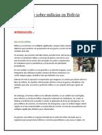Ensayo sobre milicias en Bolivia