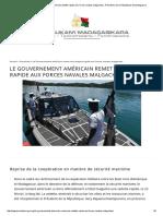 Le Gouvernement américain remet une vedette rapide aux Forces navales malgaches _ Présidence de la République de Madagascar