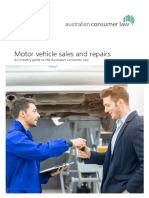 Motor vehicle sales and repairs an industry guide to the australian consumer law