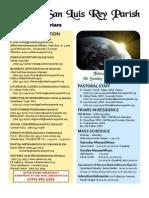 February 6, 2011 Bulletin, Mission San Luis Rey Parish