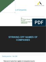 Striking of name of company