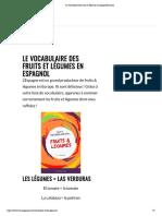 Le vocabulaire des fruits & légumes en espagnol_français