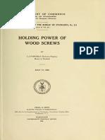 Holding Power of Wood Screws, 1926