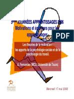 ENS JA2006 17 mai 2006 Motivation apports psychologie sociale et du travail AFernandez