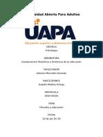 Fundamentos filosoficos e historicos de la educacion. Tarea 1 y 2.