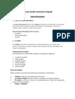 Guía de estudio evaluación Lenguaje