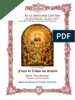 1 de noviembre. Fiesta de Todos Los Santos. Guía de los fieles para la santa misa cantada. Kyrial Fons Bonitatis.