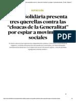 """Represión _ Alerta Solidària presenta tres querellas contra las """"cloacas de la Generalitat"""" por espiar a movimientos sociales - El Salto - Edición General"""