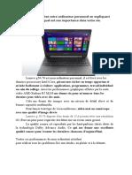 Descrierea calculatorului personal în Franceză