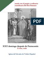 XXII Domingo Después de Pentecostes. Propio y Ordinario de la santa misa