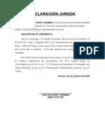 DECLARACIÓN JURADA perdida de tarjeta de propiedad2020