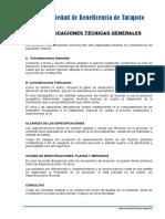 Especificaciones T-General Nichos