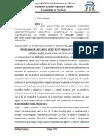 Control de lectura 5. APLICACIÓN DE TÉCNICAS COGNITIVO CONDUCTUALES EN UN CASO DE PROBLEMAS FAMILIARES REESTRUCTURACIÓN COGNITIVA, ASERTIVIDAD Y MANEJO DE CONTINGENCIAS.